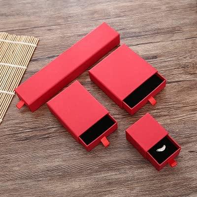ZJF 50 Piezas de Oro en Relieve Personalizado y Plateado pequeña Caja de cartón cajón Caja de cartón Pendientes Personalizados Caja de joyería (Color : Custom Red Boxes, Gift Bag Size : 20 Boxes)