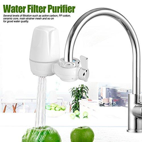 EBTOOLS 0.1Mpa-0.4Mpa Wasserhahnfilter Leitungswasser Wasserfilter für den Wasserhahn Filter Wasser Filtersystem mit abwaschbarem Keramikkern, Filter für Küche und Trinken, 2.0L / Min, 14 * 11 * 5cm