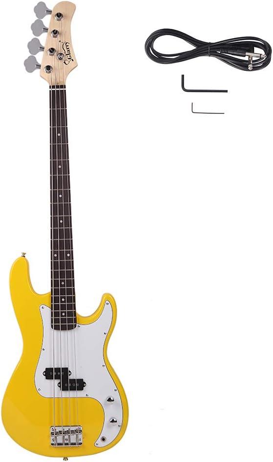 New 実物 Glarry GP Electric Bass 送料無料でお届けします Guitar Yellow Wrench Tool Cord White