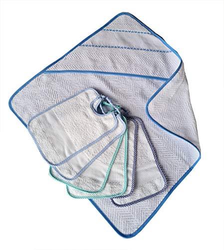 Accappatoio neonato colore azzurro cm 60x60 6 bavaglie neonato bambino cm 25x18 con tela aida