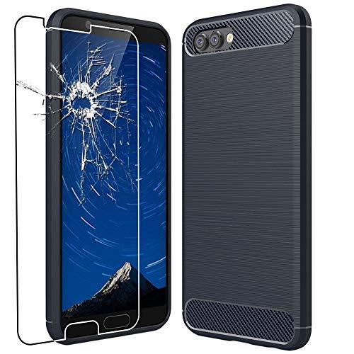 ebestStar - Cover Compatibile con Huawei Honor View 10 Custodia Protezione Silicone Gel Fibra di Carbonio Anti Scivolo, Blu Scuro +Pellicola Vetro Temperato [Apparecchio: 157 x 75 x 7mm, 5.99'']