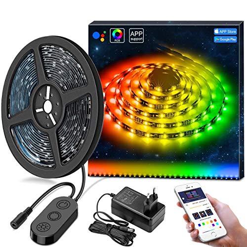 MINGER DreamColor LED Strip 5m mit eingebautem IC, LED Streifen Sync mit Musik, Wasserdichte LED Band mit App für Deko