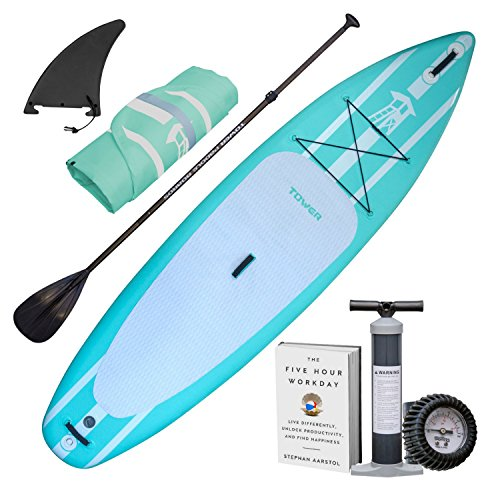 "Tower Inflatable 10'4"" Stand Up Paddle Board - (6 Inches Thick) - Universal SUP Wide Stance - Premium SUP Bundle (Pump & Adjustable Paddle Included) - Non-Slip Deck - Youth and Adult - Mermaid"
