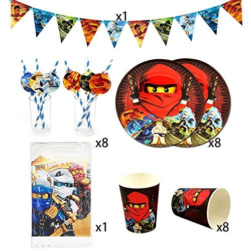 XXSBXXSB Einwegbecher Phantom Ninja Partyzubehör 26 Packungen 8 Kinder Ninjago Birthday Party Dekoratives Besteckset, Teller + Tasse + Strohhalm + Banner + Tischdecke