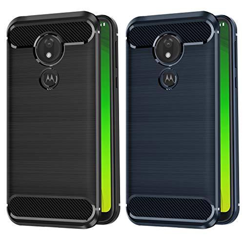 VGUARD [2 Stücke] Hülle Kompatibel für Motorola Moto G7 Power, Carbon Faser Hülle Tasche Schutzhülle mit Stoßdämpfung Soft Flex TPU Silikon Handyhülle für Motorola Moto G7 Power - (Schwarz+Blau)