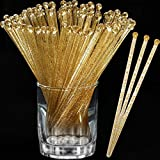 Aboat 120 Pieces 7.3 Inch Plastic Round Top Swizzle Sticks, Crystal and Gold