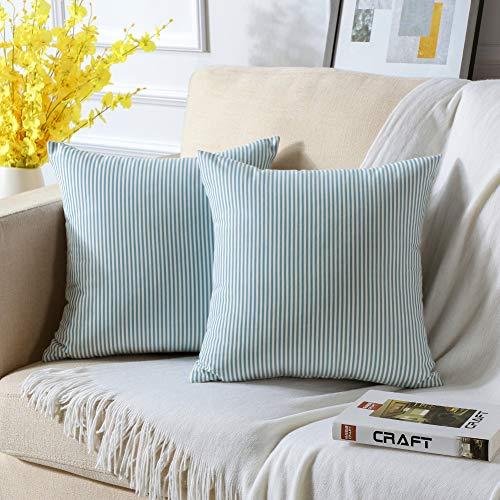 JOTOM Federa per cuscino decorativo, senza federa decorativa, cuscino decorativo, per divano, per esterni, con chiusura lampo nascosta, 45 x 45 cm, set da 2 (blu mare e a strisce bianche)