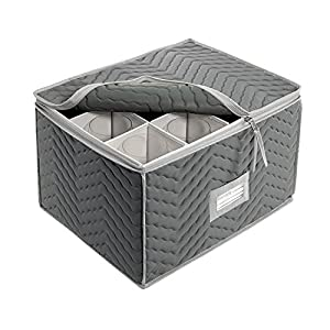 """Stemware Storage Chest -Deluxe Quilted Microfiber (Light Gray) ( 15.5"""" x 12.5 x 10"""") (6-Pack) by"""