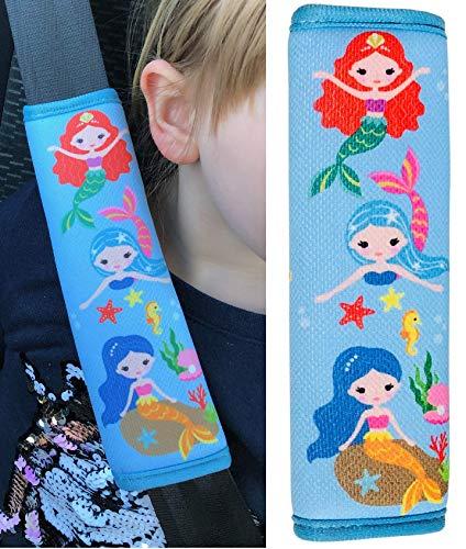 1 x Protector para cinturón de seguridad para niños HECKBO con dibujos de sirenas, protector de hombros, almohadilla para el hombro, almohadilla para el cinturón de seguridad, para bicicleta.