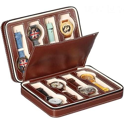 YIJIN Glasses Storage Box Grids Watch Travel Case Pu Leather Portable Zippered Watch Display Box Organizer Glasses Display Box
