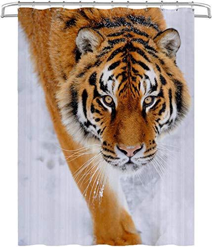 Duschvorhang Schneebedeckter Alter Tiger Duschvorhang Schimmelresistente antibakterielle Badezimmervorhänge mit Haken wasserdichte Badezimmerduschvorhänge