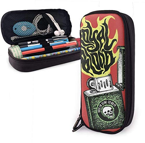 Feuerzeug, rote Flamme Schädel Leder Federmäppchen mit Reißverschluss, 8 x 3,5 x 1,5 Zoll PU Leder Stifthalter Etui Tasche