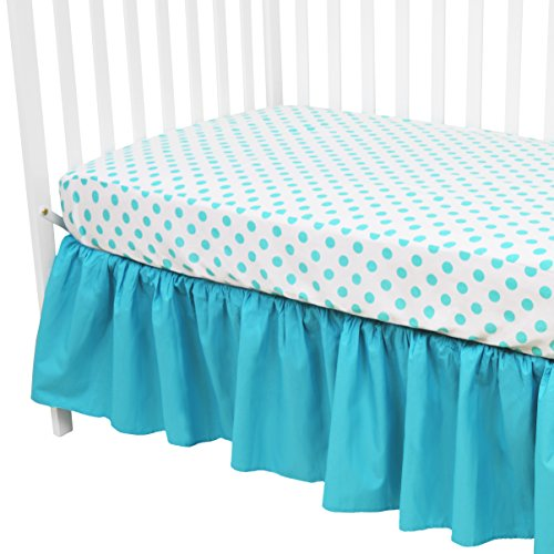 American Baby Company 100% Cotton Percale Standard Crib and Toddler Mattress Bundle, Fitted Aqua Dots Sheet and Skirt, for Boys and Girls