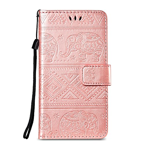 EUWLY Kompatibel mit Huawei Honor 6C Pro Handyhülle Klapphülle Handyhülle Elefant Retro Vintage Lederhülle Book Hülle Handytasche Leder Tasche Flip Wallet Hülle Cover,Rose Gold
