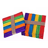 200 pièces Artisanat Bâtons en bois Art coloré Lollipop Stick Perfect for Craft...