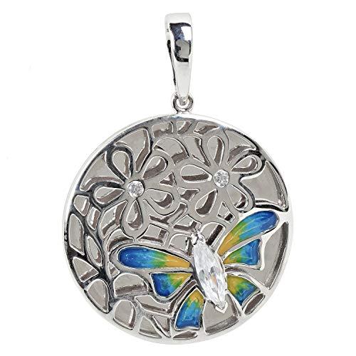 ELEDORO Damen-Anhänger Schmetterling aus Silber 925 mit Zirkonia und Emaille-Lack