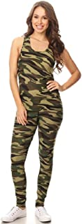 Jvini Women's 2 Piece Camouflage Active Stretchy Racerback Tank & Legging Set