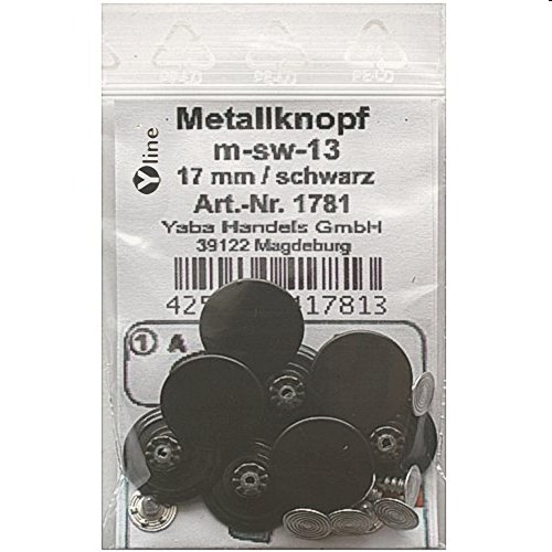 8 Metallnöpfe Jeansknöpfe schwarz,Metall-, Jeans- Knopf Knöpfe,Nähfreiknöpfe im Polybeutel, sl, 1781