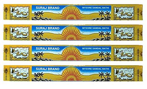Suraj Sandalwood Incense - Mysore Chandan Bathi - Traditional Packaging - Sold as a Set of 4 Boxes