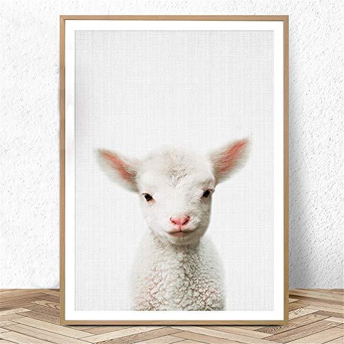 Danjiao Lamm Kindergarten Print Baby Farm Animal Schaf Wandkunst Malerei Kinderzimmer Poster Und Drucke Leinwand Kunst Babys Schlafzimmer Dekoration Wohnzimmer 60x90cm