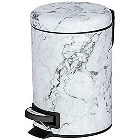 """WENKO Poubelle salle bain, poubelle à pédale, acier inox, effet """"marbre"""", poubelle 3L, 17x25x22,5 cm, Onyx"""