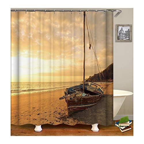 KnSam Anti-Schimmel Wasserdicht Duschvorhang Inkl. 12 Duschvorhangringen Fischerboot Vorhänge An Badewanne Bad Vorhang für Badezimmer 180 X 180 cm