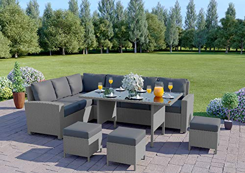 Abreo 9 Seater Corner Rattan Dining Set Garden Sofa Furniture Black Brown Grey (Solid Light Grey with Dark Cushions)