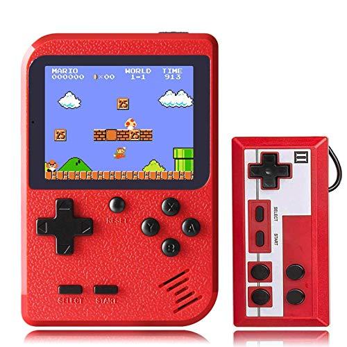 KINOEE Console de Jeu Portable Mini Lecteur de Jeu rétro avec 400 Jeux FC Classiques Prise en Charge de lécran Couleur de 2,8 Pouces pour connecter la télévision et Deux Joueurs (Rouge)
