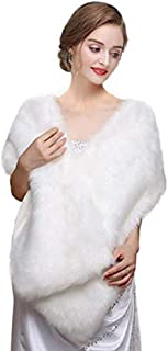 White Faux Fur Wrap Shawl Shrug Bolero Cape for Bridal Winter Weddings Gift