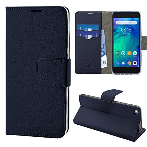 N NEWTOP Compatible Cover for Xiaomi Redmi Go, HQ Lateral Book Case Flip Magnetic Closure Leatherette Wallet Stand (Blue)