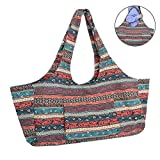 Iwinna Beauty Large Capacity Bohemian Ethnic Style Print Canvas Yoga Bag All-in-One Yoga Mat Bag with Pockets