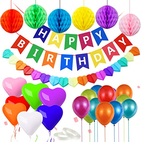 Decoracion Cumpleaños, Globos de Cumpleaños, Adornos Cumpleaños, Feliz Cumpleaños Decoracion, Guirnalda Feliz Cumpleaños, Happy Birthday Decoracion para Niño, Niña, Adultos, Mayores (Multicolor)