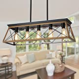 XIPUDA Kitchen Island Lighting, Rustic Dining Room Light Fixture, 5-Light Linear Farmhouse Pendant Lights, Farm House Chandeliers for American Country