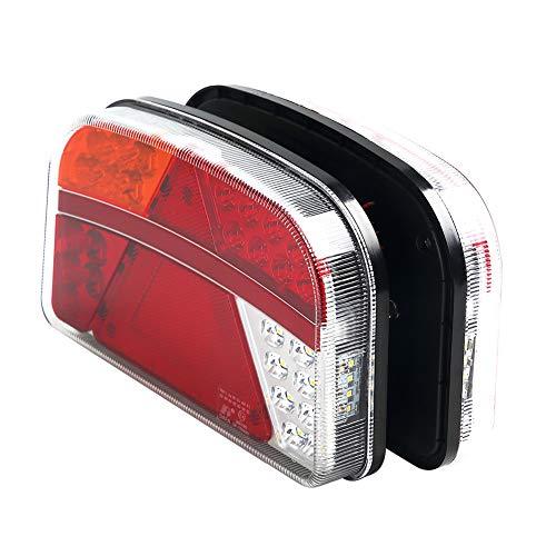 Hawkeye Paar Hintere Anhänger Leuchte Rücklicht Rückleuchten Set Heckleuchte Led Lampe für LKW PKW Wohnmobil Wohnwagen (rot &Bernstein, groß)