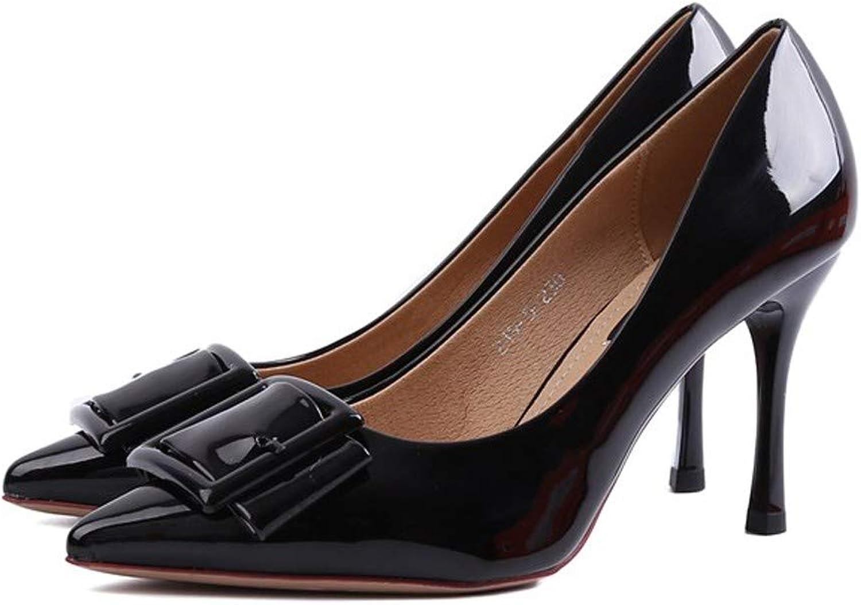 LBTSQ-Fashion Damenschuhe Spitzer Kopf Lack Haut Flach Dünne Sohle 14cm Hochhackigen Schuhe Mode Schuhe Meine Damen.