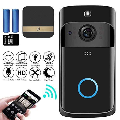 M-TOP video-intercom, deurbel met camera, wifi, video, deurintercom, draadloze 720p HD, doorbell, camera met bewegingsmelder, 2-weg audio, nachtzicht, intercom, videoBlack-B