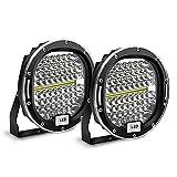 Safego 2pcs Focos LED, 7' 300W 24000LM Faros Trabajo LED Spot 12V-24V Barra LED IP68 Impermeable Luz de Niebla para Coche,SUV, UTV, ATV,Off-road,Camión,Moto,Barco - Garantía de 1 años(Concha roja)