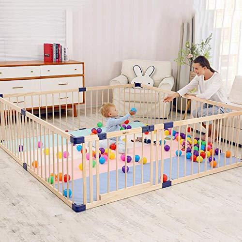 NMDD Hölzerner Spielplatz Baby Laufstall und Bällebad Set für Indoor Kleinkind Sicherheit Spielbereich Tor Anti-Fall Zaun, blau, ohne Bälle
