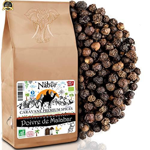 Nabür - Bio Malabar schwarzer Pfeffer 200gr   Ganze Malabar Pfeffer aus Indien, fruchtig, rauchige Noten
