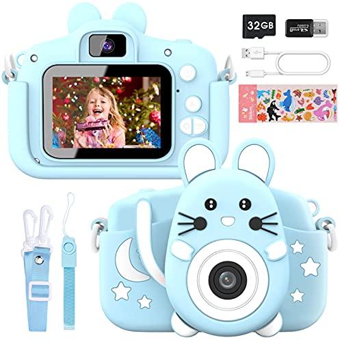Gofunly Cámara de Fotos Digitales para Niños, 2.0' HD 1080P 20MP Camara de Fotos para Niños, Tarjeta de Memoria de 32GB Selfie Video Cámara Infantil, Regalos Ideales para Niños de 3-12 Años (Azul)