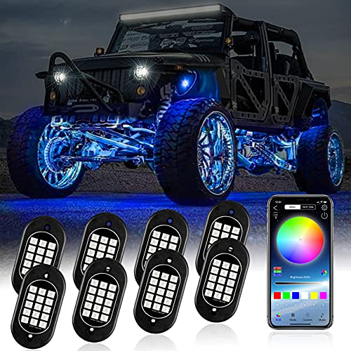 KEYMAO RGB LED Rock Lights Multicolor Underglow Neon Lights Waterproof 120 LEDs Car Light Kit with RF/APP Control Music Mode Timing Function for Truck Jeep Off Road Car UTV ATV SUV 8 Pods