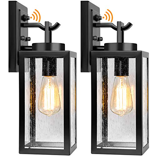 2 Packs Dusk to Dawn Outdoor Wall Lantern with Sensor, Exterior Porch...