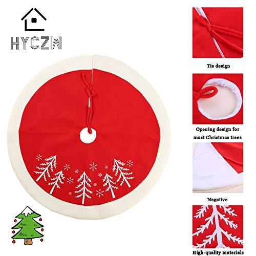 HYCZW kerstboom rok, rood en zwart geruite kerstboom rok bijgesneden met, rustieke kerstboom rok dubbel gelaagd voor kerstversieringen, dikke boom ornamenten