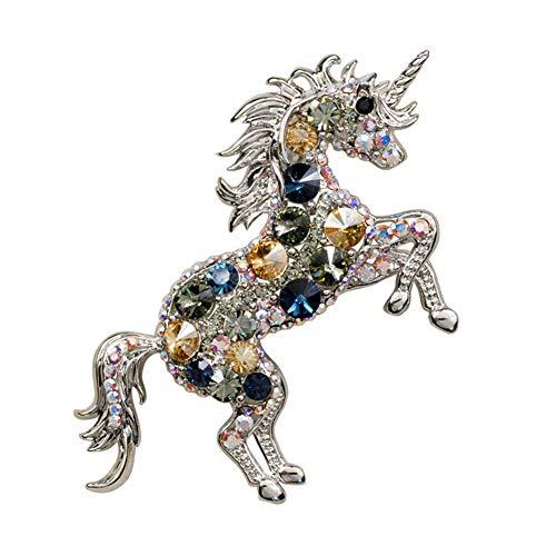 D&XQX Diamantes de imitación broches Escudo del Caballo por Mujeres y Hombres Unicornio Broche...