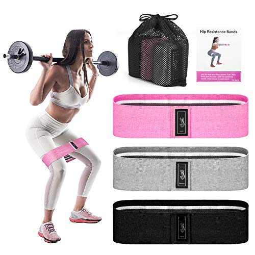 Recredo Booty Bands, 3 Resistance Bands for Legs and Butt, Non Slip Exercise Bands for Women Men, Elastic Strength Squat Band, Workout Beginner to Professional