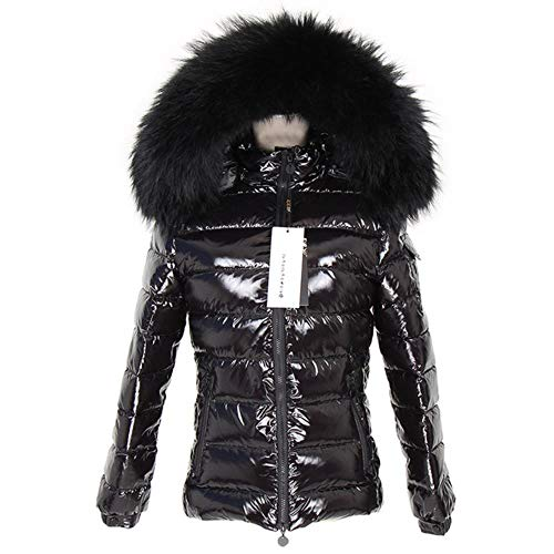 MAPPE Furry Control Autumn and Winter Bright Face Fur Collar Black Down Jacket Short 90 White Duck Down Slim Hooded Jacket Winter,Black,L-Bust-100