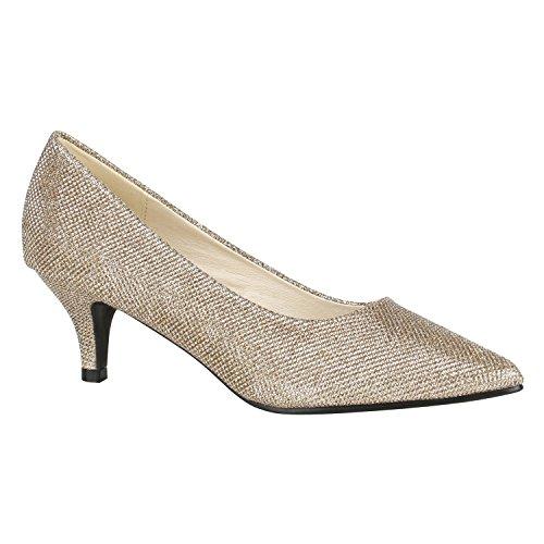 Spitze Damen Schuhe Pumps Glitzer Party Schuhe Abendschuhe Stilettos 144487 Bronze Glitzer 37 Flandell