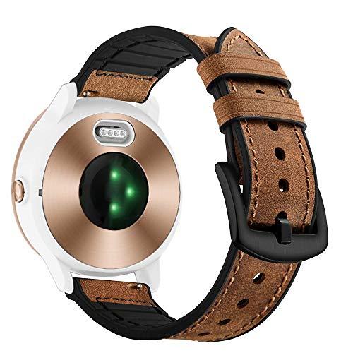 Vivoactive 3 correa de reloj, 20 mm de liberación rápida de cuero genuino con suave silicona reemplazo bandas fitness para Garmin Vivoactive 3/Garmin Forerunner 645 Music/Samsung Galaxy 42 mm Smart Watch