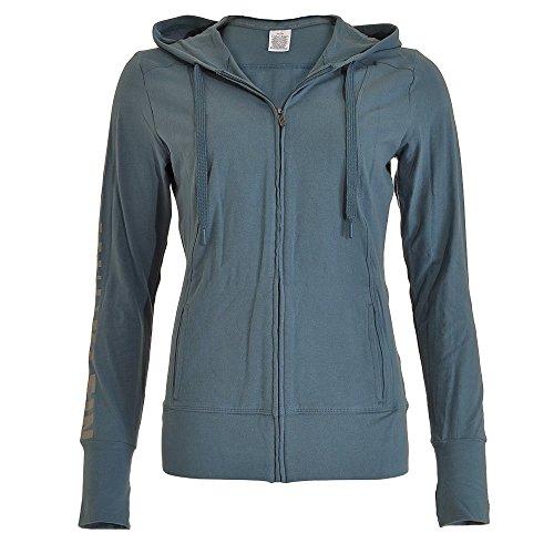Calvin Klein Damen Kapuzenpullover, nahtlos, Stahl, Blau Gr. 32, blue steel
