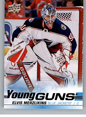2019-20 Upper Deck Hockey #466 Elvis Merzlikins RC Rookie Card Columbus Blue Jackets Young Guns Official Series Two Trading Card From UD